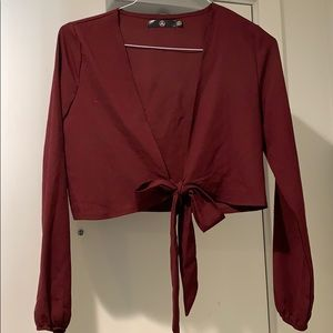 Missguided Burgundy red longsleeve crop top